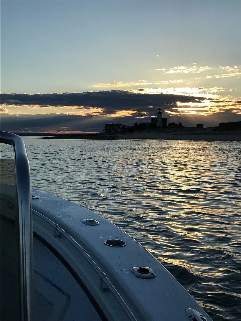 Cape Cod Bay Outfitters charter sunset cruise on Cape Cod Bay