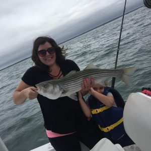 Mom and son catch fish